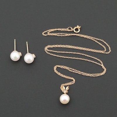14K Yellow Gold Cultured Pearl and Diamond Necklace and Earring Set