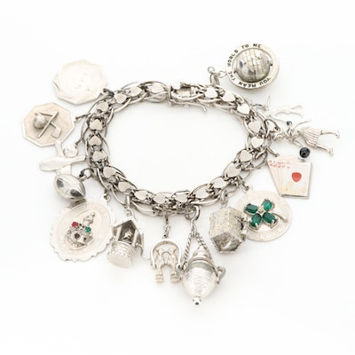 Vintage Sterling Silver Charm Bracelet with Sporting Themed Charms