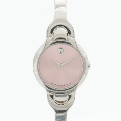 Movado Pink Dial Stainless Steel Quartz Wristwatch