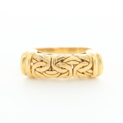 18K Yellow Gold Ring with Byzantine Accent