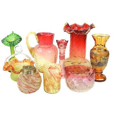 "Amberina ""Herringbone"" Glass Pitcher, Cranberry Spatter Glass Shaker, and More"