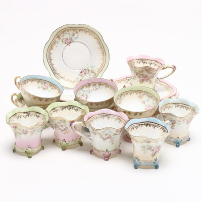 R S Prussia Tea Cups with Saucers, 1870-1918