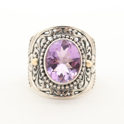 Robert Manse Sterling Silver Amethyst Ring with 18K Yellow Gold Accent