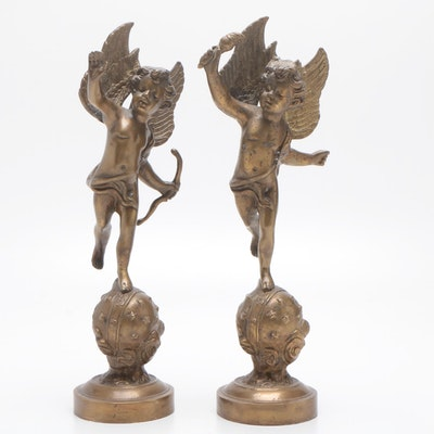 Pair Winged Cupid Bronze Mantel Statues, Made in India, Circa 1960s-1970s