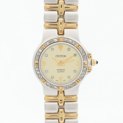 Croton Diamond Dial And Cubic Zirconia Bezel Two Tone Quartz Wristwatch