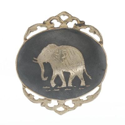 Thai Sterling Silver Neillo Brooch in Elephant Motif