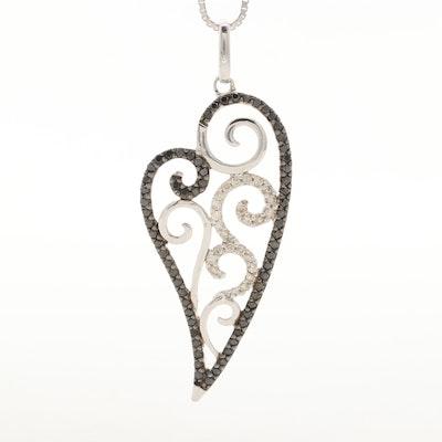 Sterling Silver Diamond and Black Diamond Heart Pendant Necklace