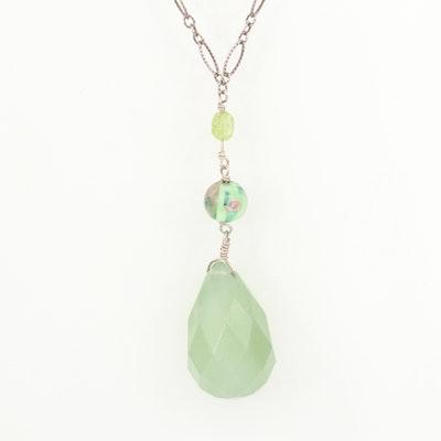 Sterling Silver Bowenite, Peridot and Millefiori Glass Pendant Necklace