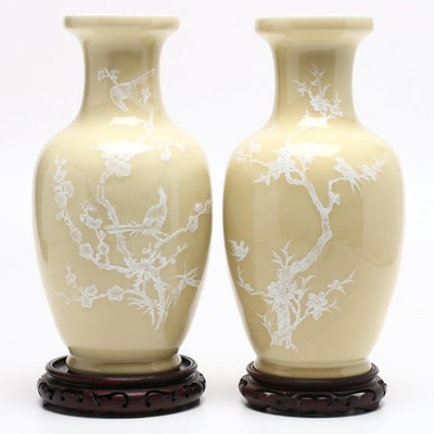 Chinese Porcelain Mantel Vases with Fowl and Floral Motifs, Late 20th C.