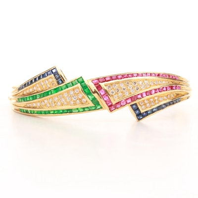 18K Yellow Gold Sapphire, Emerald, Ruby and 1.05 CTW Diamond Bangle Bracelet