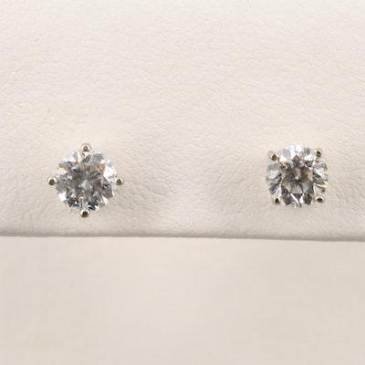 14K White Gold 1.00 CTW Diamond Stud Earrings
