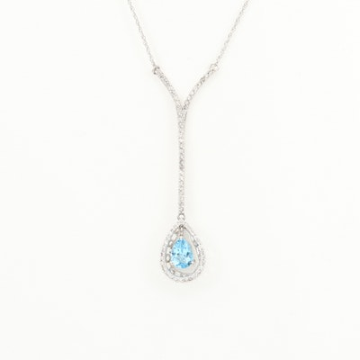 14K White Gold Topaz and Diamond Pendant Necklace