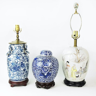 Chinese Hand Painted Table Lamps and Ginger Jar
