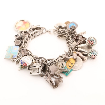 Vintage Sterling Silver Travel Charm Bracelet with Sapphire and Enamel Accents