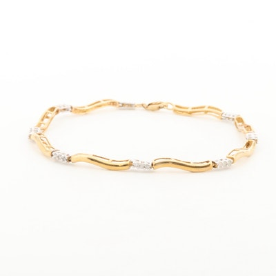 10K Yellow Gold Diamond Station Bracelet