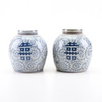 "Chinese Blue and White ""Double Happiness"" Ceramic Ginger Jars"