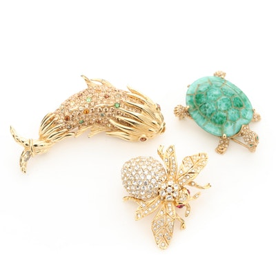 Animal Motif Brooches Featuring Ciner and Rhinestones.