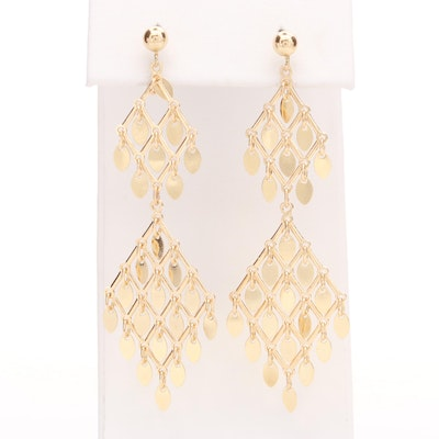 14K Yellow Honeycomb Dangle Earrings
