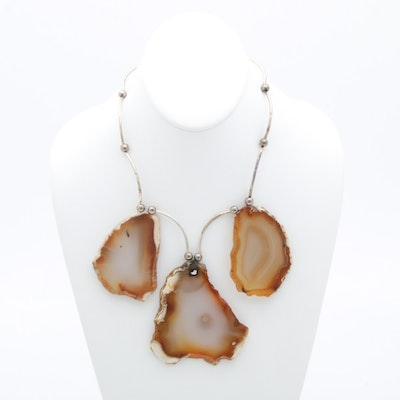 Silver-Tone Banded Agate Necklace