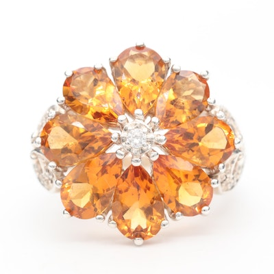 Sterling Silver Diamond and Citrine Ring with Diamond Accented Shoulders