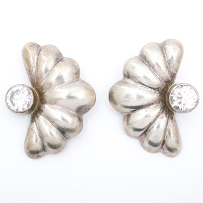 Taxco Sterling Silver Electroform Imitation Gemstone Earrings