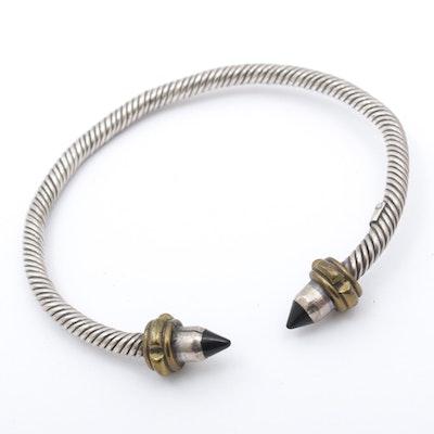 Mexican Sterling Silver Enamel Cuff Bracelet