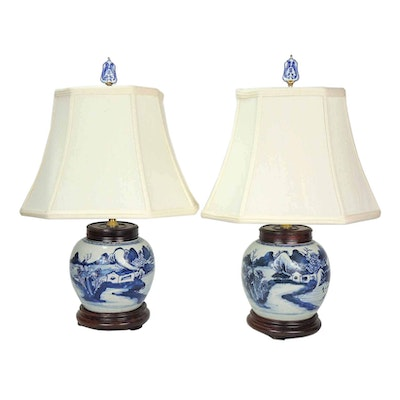 Chinese Canton Porcelain Table Lamps, 19th Century