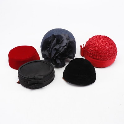 Mr. Charles and Other Pillbox and Cloche Hats, 1950s-60s Vintage