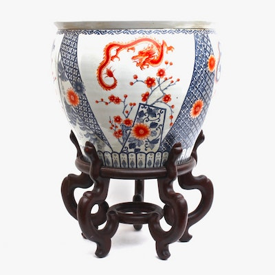 Maitland-Smith Chinese Hand Painted Ceramic Fish Bowl Planter