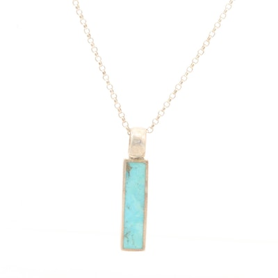 Sterling Silver Turquoise Bar Necklace