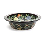 Chinese Famille Noire Ceramic Hand Painted Centerpiece Bowl