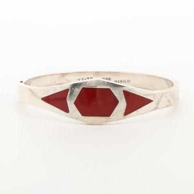 Mexican Sterling Silver Resin Bangle Bracelet