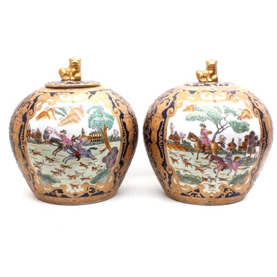 Chinese Hand-Painted Export Ceramic Lidded Jars