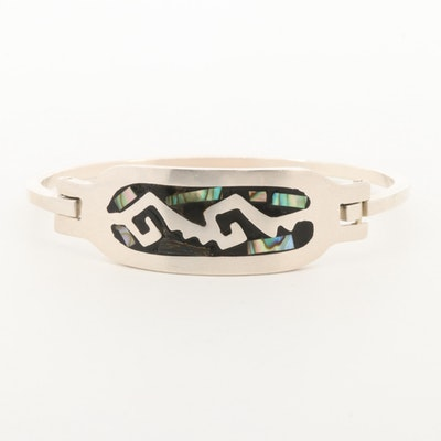 Mexican Sterling Silver Abalone Bangle Bracelet