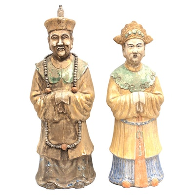 Chinese Hand Carved Earthenware Figurines
