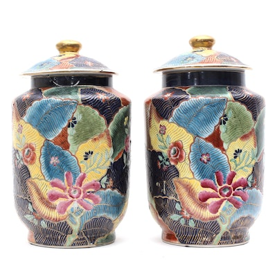 "Winterthur by Oriental Accent Chinese ""Tobacco Leaf"" Ceramic Hand Painted Urns"