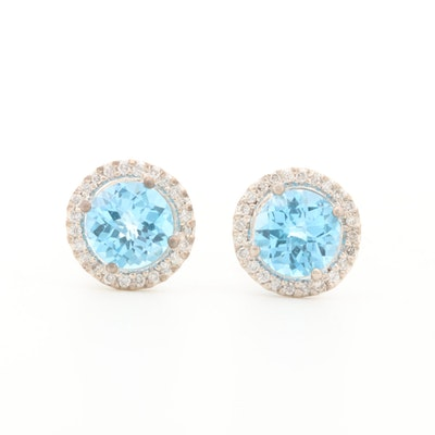 18K White Gold Blue Topaz and Diamond Halo Earrings