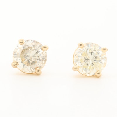 14K Yellow Gold 1.37 CTW Diamond Stud Earrings