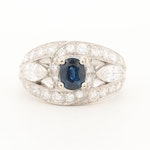 Platinum Sapphire and 1.70 CTW Diamond Ring