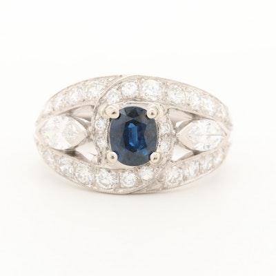 Platinum Sapphire and 1.70 CTW Diamond Ring