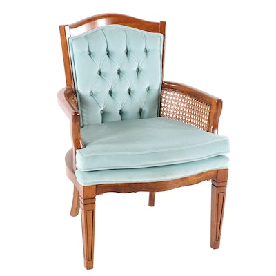 Tufted Velveteen and Rattan Arm Chair, 1970s