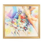 Kwok Wai Lau Colorful Abstracted Nude Oil Painting