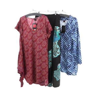 Aller Simplement Burgundy Paisley Polyester Tunic and Dresses
