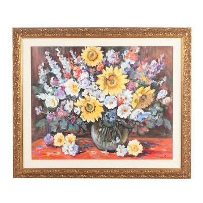 Contemporary Floral Still Life Acrylic Painting