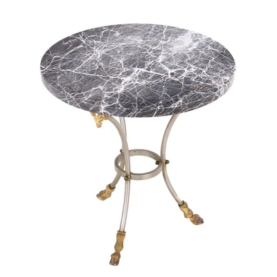 Neoclassical Style Occasional Table with Marble Top, Late 20th Century