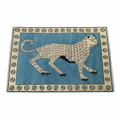 Hand-Knotted Persian Qum Pictorial Rug