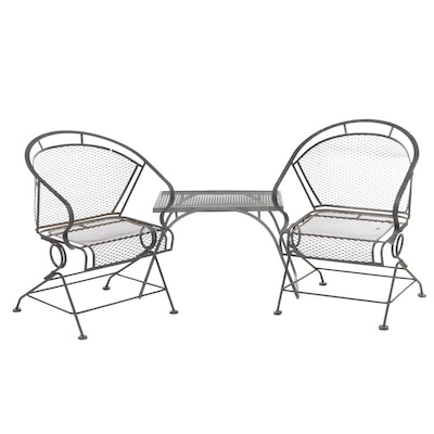 Outdoor Iron Patio Chairs with Side Table