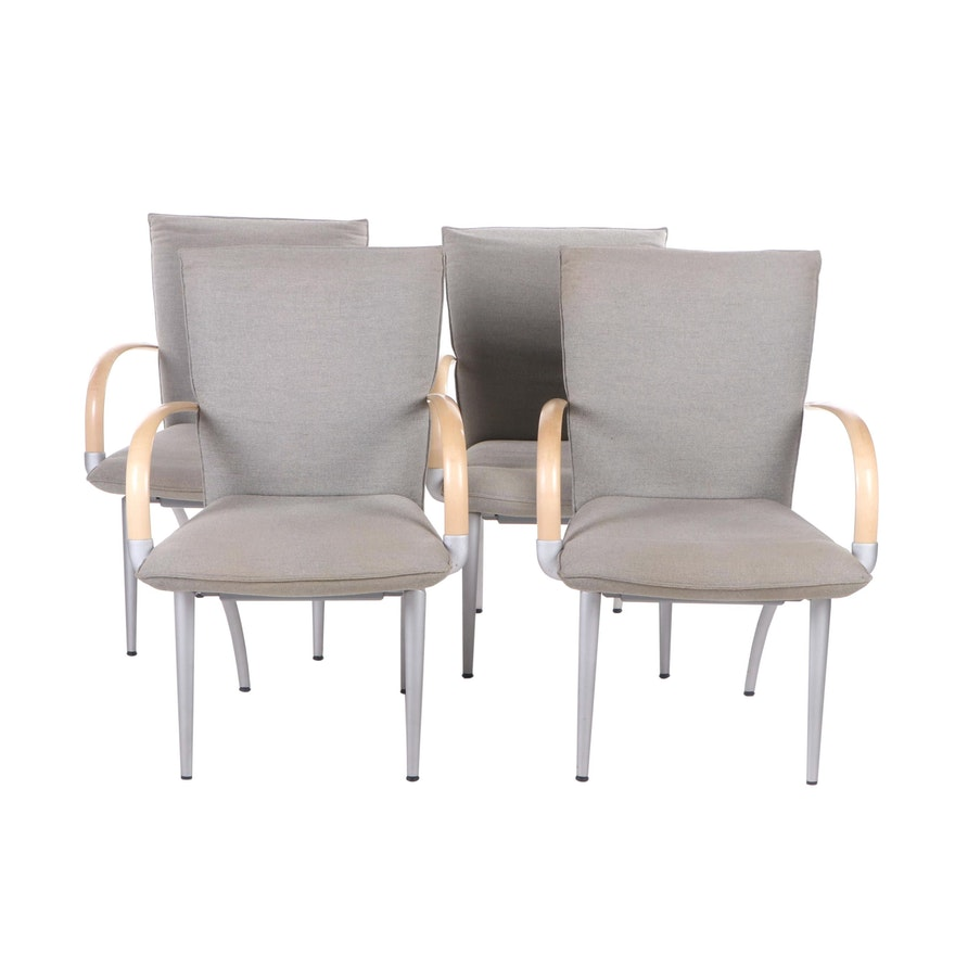 Four Rolf Benz 7000 Upholstered Metal and Wood Armchairs