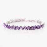 Sterling Silver 8.50 CTW Amethyst Bracelet