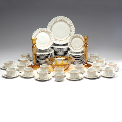 "Haviland Limoges ""Ladore"" Porcelain Dishes with Glass Bowl and Candleholders"